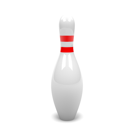 skittle: One Single White and Red Bowling Skittle on White Background 3D Illustration