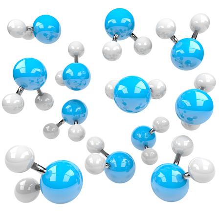 molecula de agua: Grupo de azul y blanco Moléculas aisladas sobre fondo blanco Ilustración 3D Foto de archivo