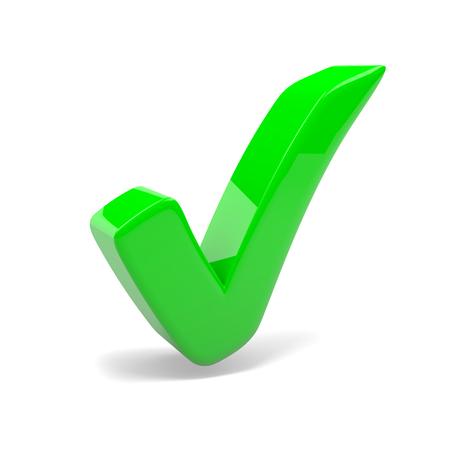 green tick: Green Tick Mark on White Background 3D Illustration