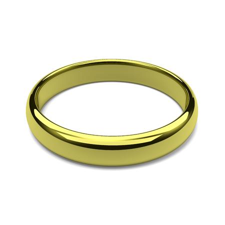 One Single Golden Ring on White Background 版權商用圖片