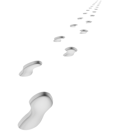 Footprints Path on White Background 3D Illustration Stock Photo