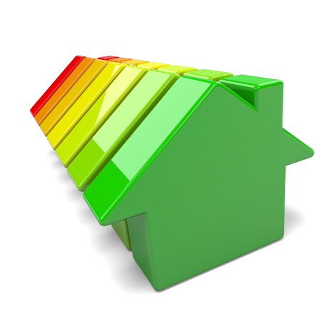consume: Houses Energy Efficiency Levels Chart Classification Environment Concept 3D Illustration
