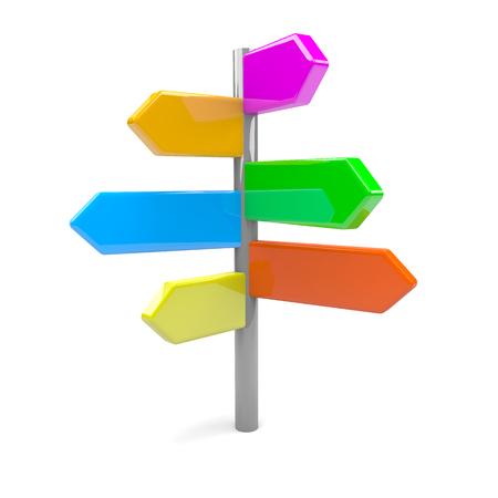fork in the road: Pile of Colorful Arrows Road Sign 3D Illustration Stock Photo