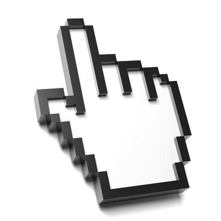 Hand Mouse Pointer Pixelated on White Background 3D Illustration