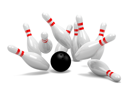 Strike of White and Red Bowling Skittles with Black Ball on White Background 3D Illustration