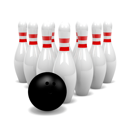 clump: White and Red Bowling Skittles Group with Black Ball on White Background 3D Illustration Stock Photo