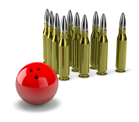 clump: Group of Bullets with Red Bowling Skittle Ball on White Background 3D Illustration