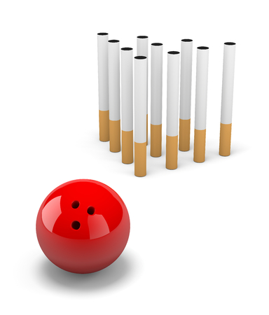 clump: Group of Cigarette with Red Bowling Skittle Ball on White Background 3D Illustration Stock Photo