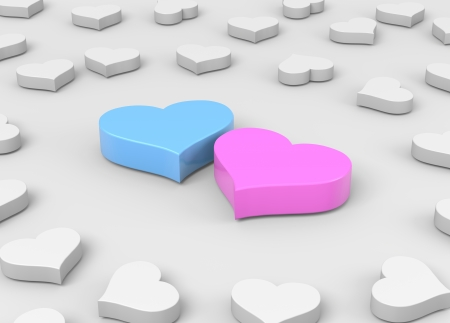 two people with others: Couple of Blue and Pink Hearts among Many Others Love Concept 3D Illustration