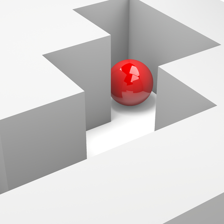escape route: Labyrinth with a Red Ball 3D Illustration Wrong Way Concept Stock Photo