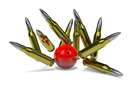 clump: Strike of Bullets with Red Bowling Skittle Ball on White Background 3D Illustration Stock Photo