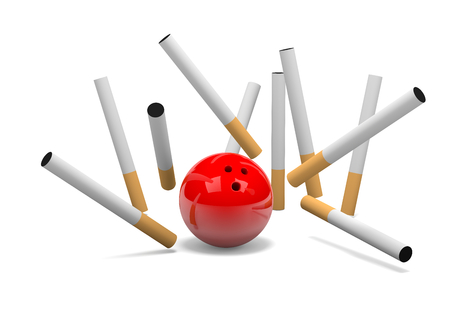 clump: Strike of Cigarette with Red Bowling Skittle Ball on White Background 3D Illustration Stock Photo