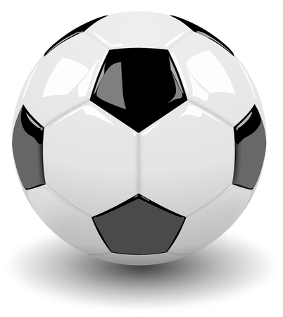 shadowed: Single Classic Black and White Soccer Ball with Shadow on White Background 3D Illustration Stock Photo