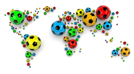 Colorful Soccer Balls Arranged as a World Map on White Background 3D Illustration illustration