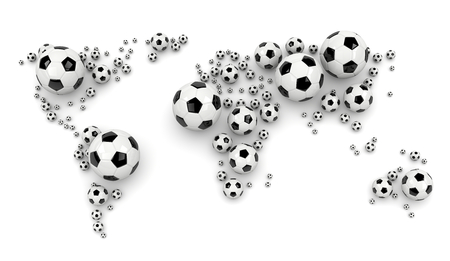shadowed: Black and White Soccer Balls Arranged as a World Map on White Background 3D Illustration
