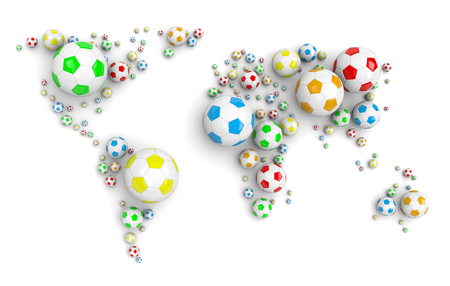 shadowed: Colorful Soccer Balls Arranged as a World Map on White Background 3D Illustration