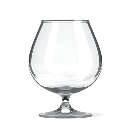 brandy glass: Empty Single Transparent Brandy and Cognac Glass on White Background Stock Photo