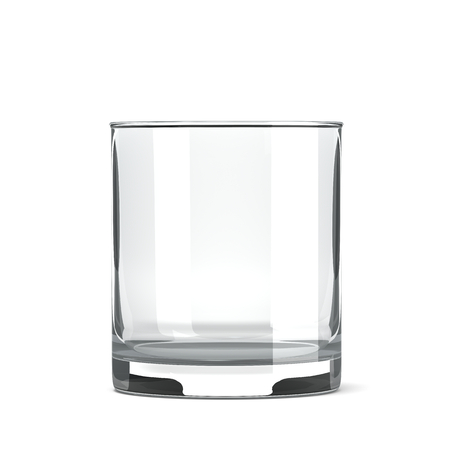 drinkware: Empty Single Transparent Table Tumbler Glass on White Background Stock Photo