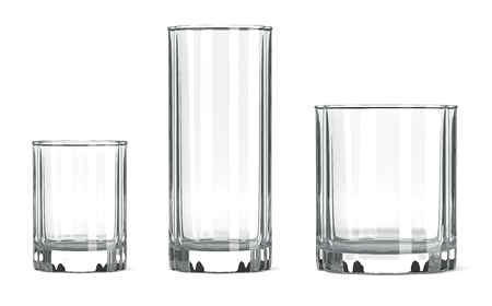 drinkware: Empty Transparent Table Tumbler Glass Set on White Background Stock Photo