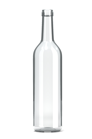 void: Empty Single Transparent Glass Bottle on White Background