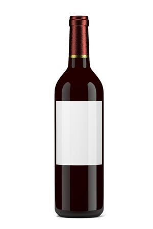 Single Glass Wine Bottle with Blank Label on White Background photo