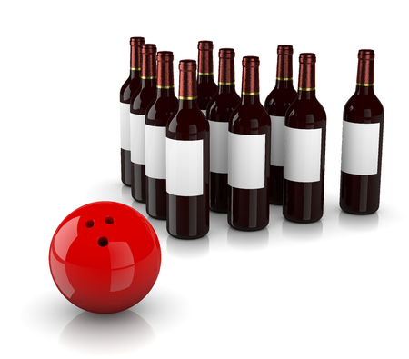 Set of Glass Wine Bottles as Skittles and Bowling Ball  on White Background, Strike Alcoholism Concept
