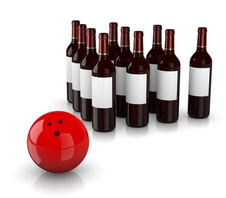 Set van glas wijnflessen als Skittles en bowling bal op een witte achtergrond, Strike Alcoholisme Concept Stockfoto