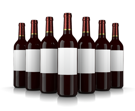 clump: Set of Glass Wine Bottles with Blank Label on White Background