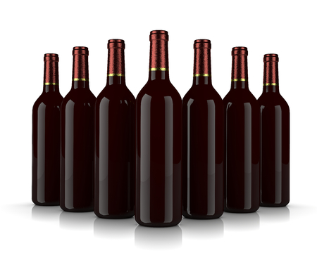 clump: Set of Glass Wine Bottles without Label on White Background