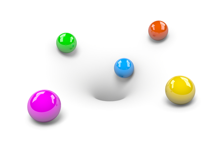 inevitability: Colorful Balls attracted to Hole on White Background Stock Photo