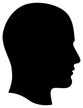 unknown gender: Man Head Profile Dark Silhouette Isolated on White Background Illustration Stock Photo