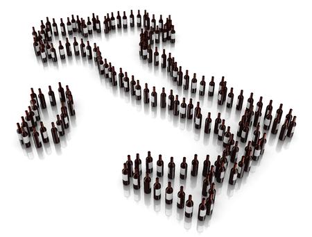 Chemin de bouteilles de vin Disposées en Italie Carte Disposition Banque d'images - 26981183