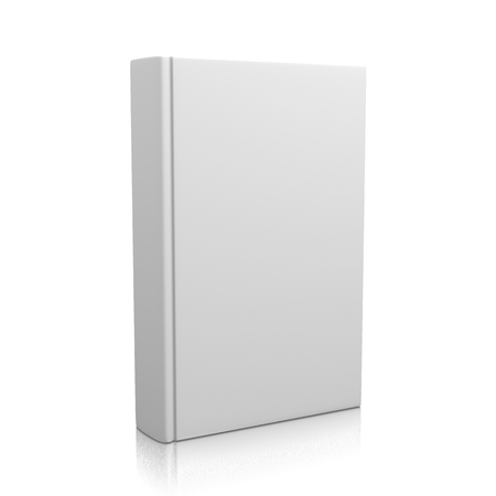 Single Closed White Book Upright isolated on white  Stock Photo