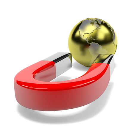 magneto: Red Magnet Attracts Metallic Earth on White isolated on white  Stock Photo