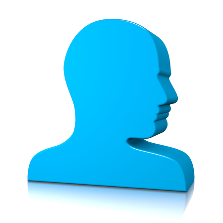 unknown gender: Blue Man Head Profile 3D Silhouette on White with Reflection