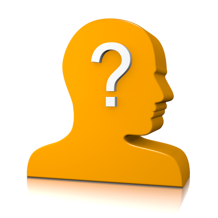 unknown gender: Orange Man Head Profile 3D Silhouette with Question Mark on White Identity Concept Stock Photo