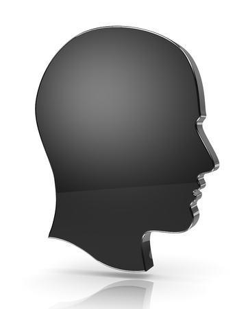 unknown gender: Man Head Profile 3D Silhouette on White with Reflection Stock Photo