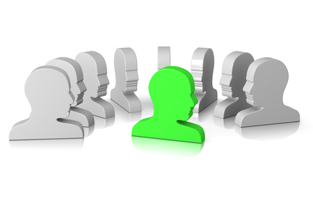 Group of Head Profile Watching the Leader on White 3D Illustration illustration