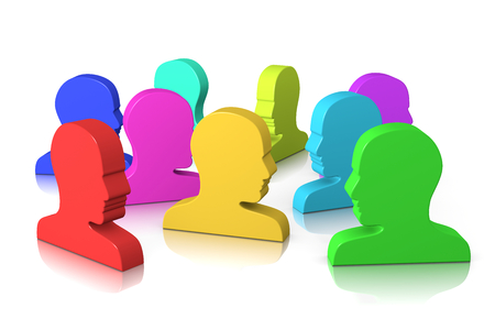 Group of Colorful Head Profile on White Background 3D Illustration Social Concept illustration