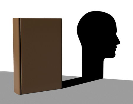 sapience: Book with Shadow in the Shape of an Human Head