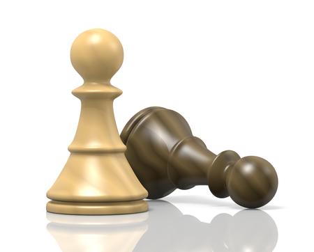 White Wood Chessman Defeat Black Chessman Stock Photo