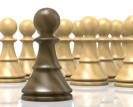 enemy: Single Black Wood Chessman Against White Chess Pieces on White