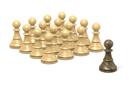 duel: Single Black Wood Chessman Against White Chess Pieces on White