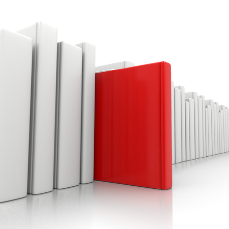 pick out: Bookcase and a Red Book Standing Up