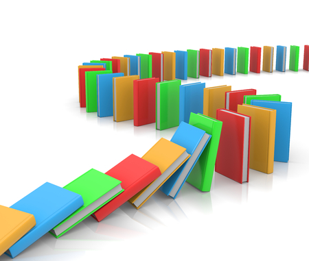 path pathway: Colored Books Aligned Along a Path Like