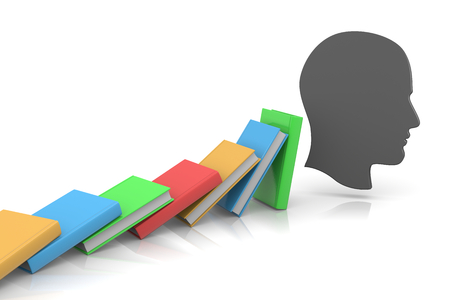 aligned: Colored Books Aligned  Stock Photo