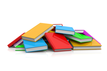 untidy: Heap of Untidy Colored Books on White