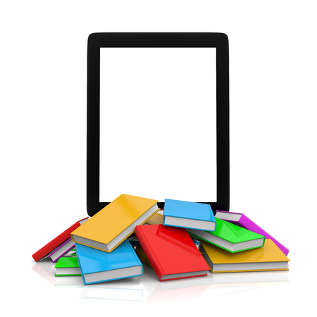 Tablet Pc Over an Heap of Colored Books Illustration illustration