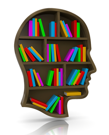 bookshop: Wood Bookshelf in the Shape of Human Head Illustration, Wisdom Concept Stock Photo