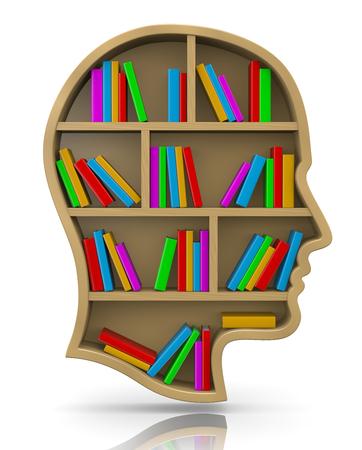 bookshop: Wood Bookshelf in the Shape of Human Head Illustration, Knowledge Concept Stock Photo
